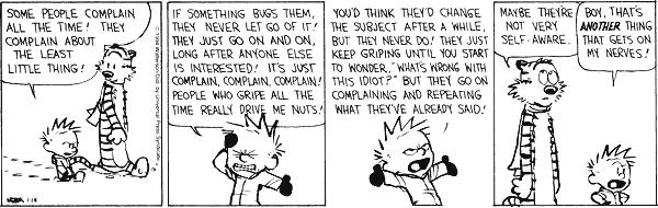Calvin complaining.