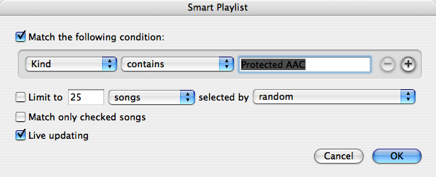 iTunes smart playlist creation window