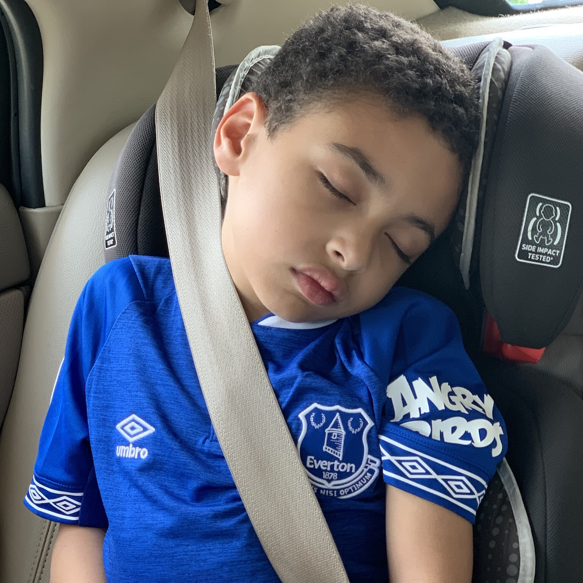 A tuckered out young boy, May 2019