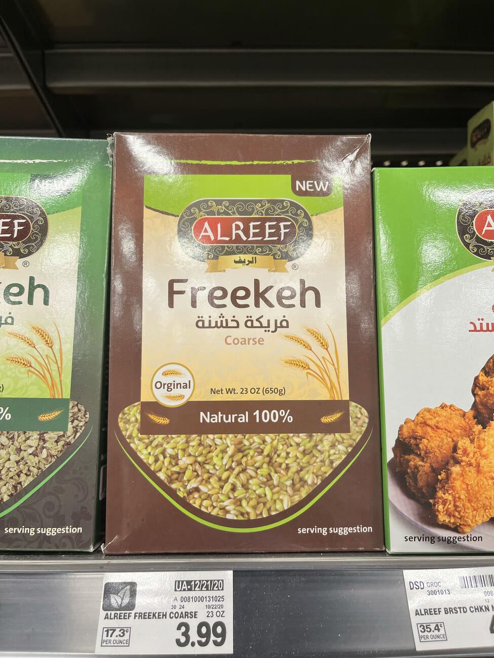 box of freekeh on a store shelf (Kroger)